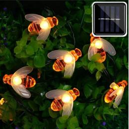 Садова гірлянда на сонячній батареї бджілка, теплий білий, 10м, 100 led ламп.