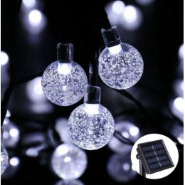 Вулична гірлянда на сонячній батареї Кришталеві кульки 10м. 100 led 8 режимів, білий.