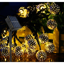 Садовая гирлянда на солнечной батарее марроканский шарик 7м. 50 led, серебро, диаметр шара 2.5 см.