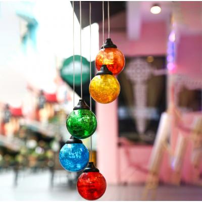 Фонарь садовый  на солнечной батарее, подвесной, цветные хрустальные шары.