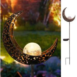 Ліхтар садовий місяць на сонячній батареї кований. теплий білий.