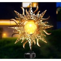 Фонарь садовый солнце на солнечной батарее кованый  теплый белый.