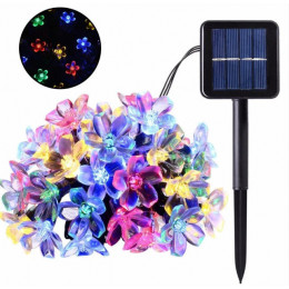 Садова гірлянда на сонячній батареї з вишневим цвітом 7 м. 50 світлодіодна, багатобарвний, водонепроникна.