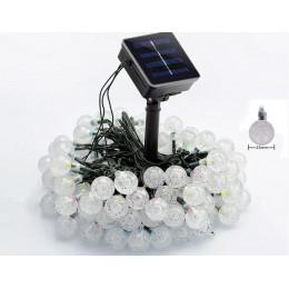 Садовая гирлянда на солнечной батарее хрустальные шарики 30 led 6м. белый 8 режимов