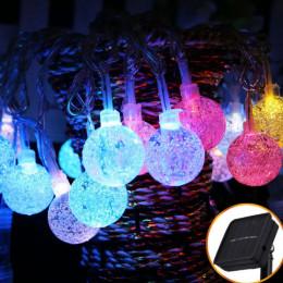Садовая гирлянда на солнечной батарее хрустальные шарики 6 м 30 led мультиколор 8 режимов