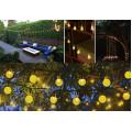Садова гірлянда на сонячній батареї кришталеві кульки 6м. 30 led теплий білий 8 режимів