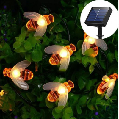 Садовая гирлянда на солнечной батарее пчелка, теплый белый,  6.5м, 30 led ламп.
