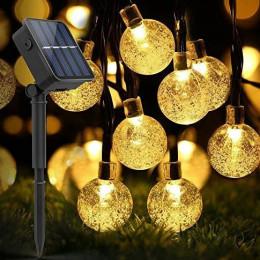 Садовая гирлянда на солнечной батарее хрустальные шарики 11м. 60 led теплый белый 8 режимов