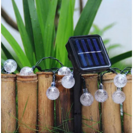 Садовая гирлянда на солнечной батарее хрустальные шарики 60 led 11м. белый, 8 режимов