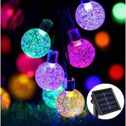 Садовая гирлянда на солнечной батарее хрустальные шарики 11 м 60 led мультиколор, 8 режимов