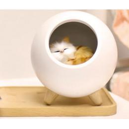 Ночник котик в домике из бука светильник,  3 степени яркости, белый