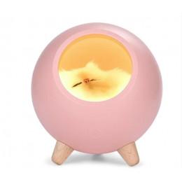 Детский ночник котик в домике из бука светильник 3 степент яркости, розовый