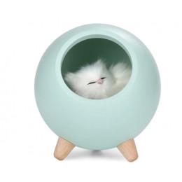 Ночник котик в домике из бука светильник 3 степени яркости, зеленый