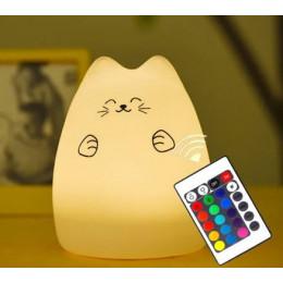 Світильник нічник мила кішечка з пультом, 15 режимів світіння