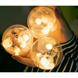 Гірлянда світлодіодна бахрома чарівні кулі, теплий білий, 2.5м, 12 куль