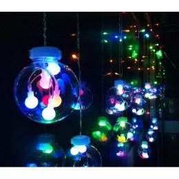Гірлянда світлодіодна бахрома чарівні кулі, мультиколор, 2.5м, 12 куль